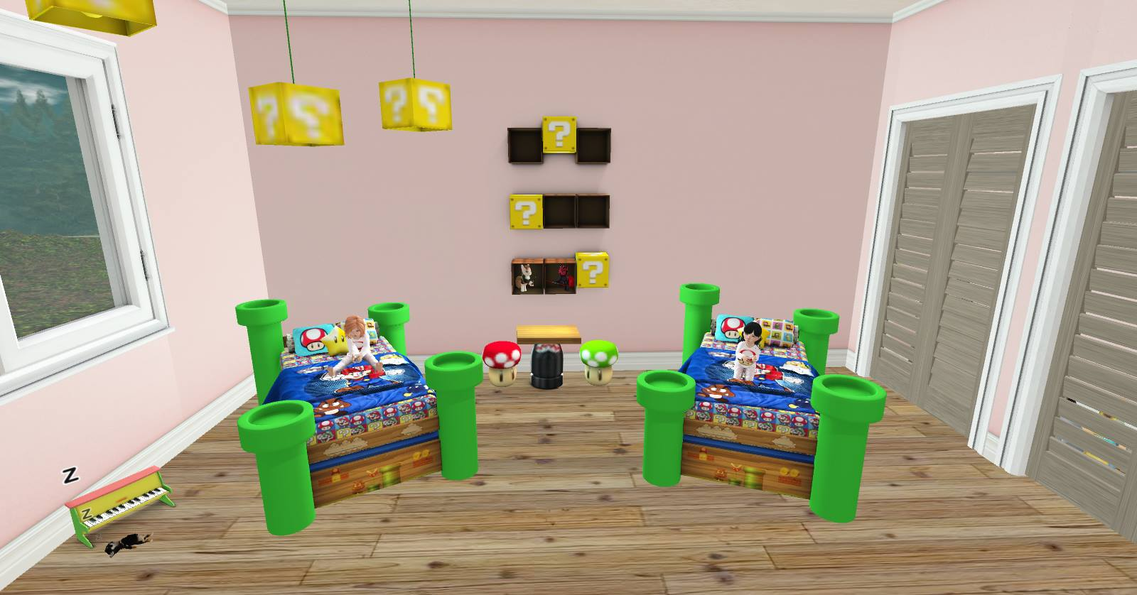 Sooo i kicked mine sister over to her own bed and we figured we'd show you  guys just how cuteeeeeeeee! Here is our mario bros retro beds *grins* who  didnt ...